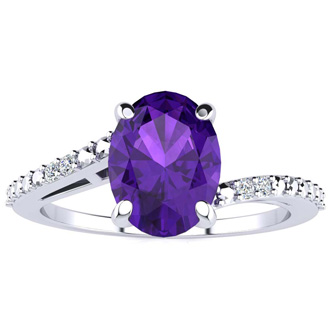 1ct Oval Shape Amethyst and Diamond Ring in 10K White Gold
