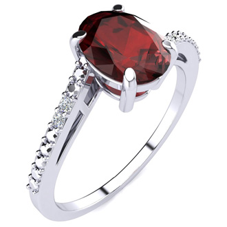 1 1/2ct Oval Shape Garnet and Diamond Ring in 10k White Gold
