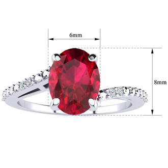 1 1/2ct Oval Shape Ruby and Diamond Ring in 10k White Gold