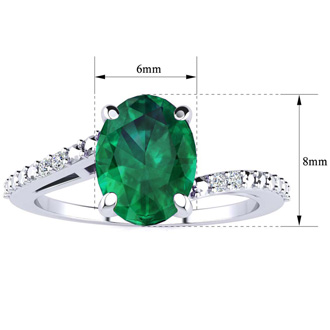 1 1/5ct Oval Shape Emerald and Diamond Ring in 10k White Gold