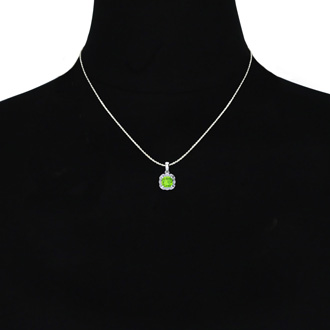 2 1/2ct Cushion Cut Peridot and Diamond Necklace In 10K White Gold