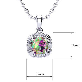 2 1/2ct Cushion Cut Mystic Topaz and Diamond Necklace In 10K White Gold