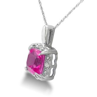 2 1/2ct Cushion Cut Pink Topaz and Diamond Pendant in 10k White Gold