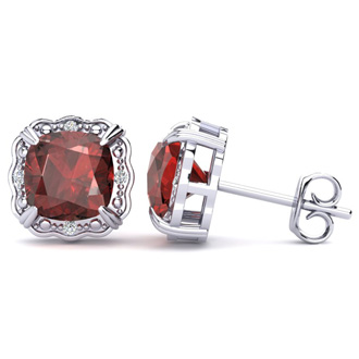 2ct Cushion Cut Garnet and Diamond Earrings in 10k White Gold