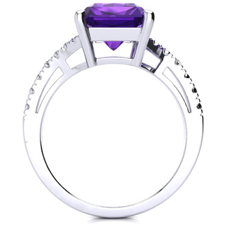 4ct Octagon Amethyst and Diamond Ring in 10k White Gold