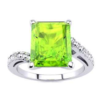 4ct Octagon Peridot and Diamond Ring in 10k White Gold