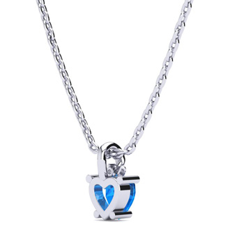 1/2ct Blue Topaz and Diamond Heart Necklace in 10k White Gold