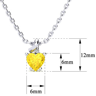 1/2ct Citrine and Diamond Heart Necklace in 10k White Gold