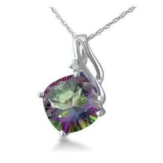 5ct Cushion Cut Mystic Topaz and Diamond Pendant in 10k White Gold