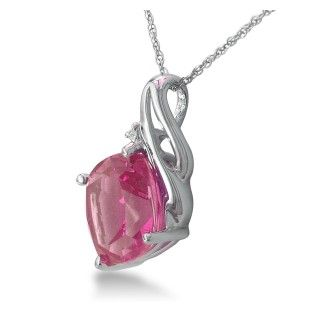 5ct Cushion Cut Pink Topaz and Diamond Pendant in 10k White Gold
