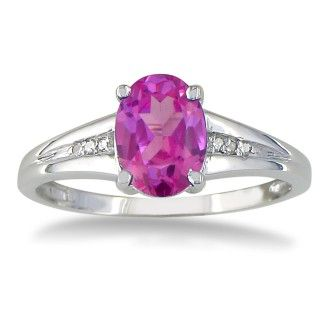 1 1/2ct Oval Shape Pink Topaz and Diamond Ring in 10k White Gold