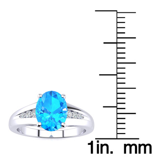 1 1/2ct Oval Shape Blue Topaz and Diamond Ring in 10k White Gold