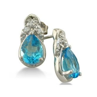 1 3/4ct Pear Shaped Blue Topaz and Diamond Earrings in 10k White Gold