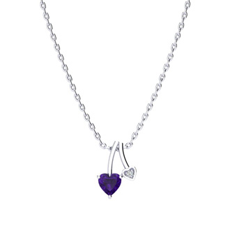 1/2ct Heart Shaped Amethyst and Diamond Necklace in 10k White Gold