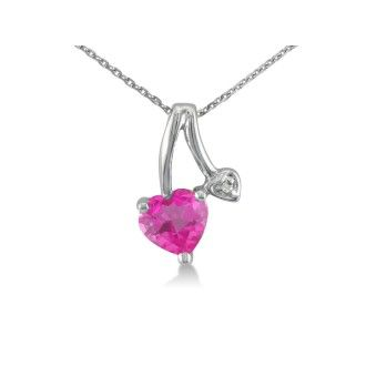 1/2ct Heart Shaped Pink Topaz and Diamond Pendant in 10k White Gold