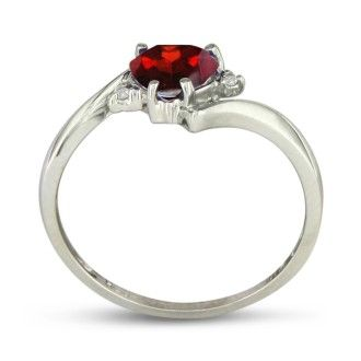 1/2ct Heart Shaped Garnet and Diamond Ring in 10k White Gold
