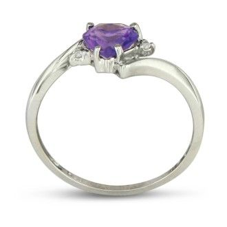 1/2ct Heart Shaped Amethyst and Diamond Ring in 10k White Gold