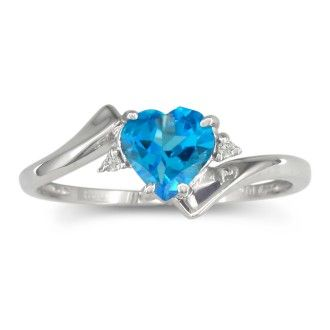 1/2ct Heart Shaped Blue Topaz and Diamond Ring in 10k White Gold