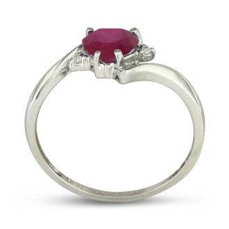 1ct Heart Shaped Ruby and Diamond Ring in 10k White Gold