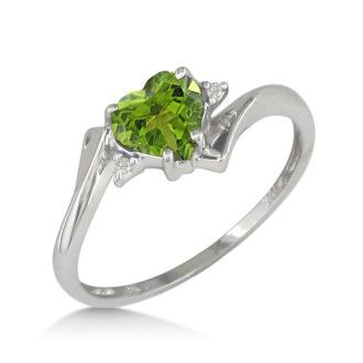 1/2ct Heart Shaped Peridot and Diamond Ring in 10k White Gold
