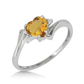 1/2ct Heart Shaped Citrine and Diamond Ring in 10k White Gold