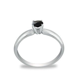 1/10ct Black Diamond Solitaire Ring in 10k White Gold