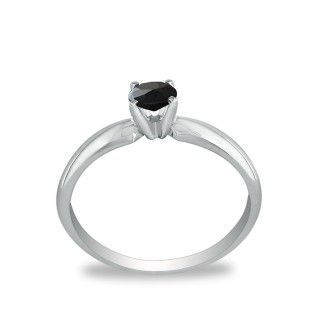 1/4ct Black Diamond Solitaire Ring in 10k White Gold
