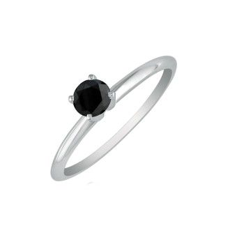 1/3ct Black Diamond Solitaire Ring in 10k White Gold