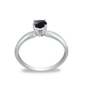 1/2ct Black Diamond Solitaire Ring in 10k White Gold