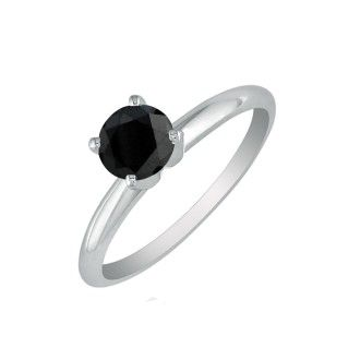 3/4 Carat Black Diamond Solitaire Ring In 10K White Gold