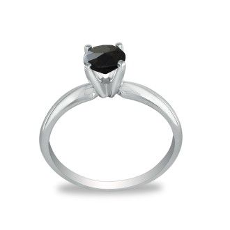 1 1/2ct Black Diamond Solitaire Ring in 14k White Gold