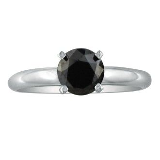 2 Carat Black Diamond Solitaire Ring in 14K White Gold