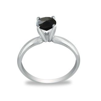 2ct Black Diamond Solitaire Ring in 14k White Gold
