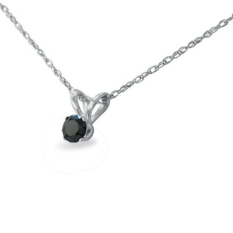 1/10ct Black Diamond Solitaire Pendant in 10k White Gold