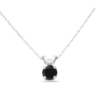 1/4ct Black Diamond Solitaire Pendant in 10k White Gold
