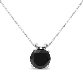 1ct Black Diamond Solitaire Pendant in 10k White Gold