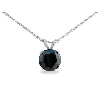 1 1/2ct Black Diamond Solitaire Pendant in 14k White Gold