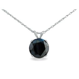 2ct Black Diamond Solitaire Pendant in 14k White Gold