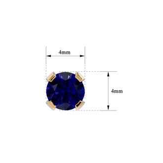 .60ct Blue Sapphire Stud Earrings in 14k Yellow Gold