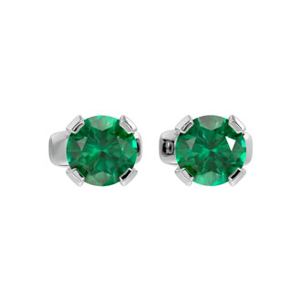 .50ct Emerald Stud Earrings in 14k White Gold