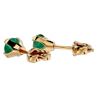 .50ct Emerald Stud Earrings in 14k Yellow Gold