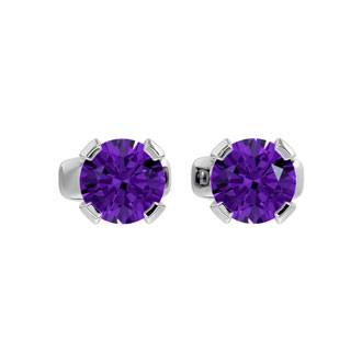.50ct Amethyst Stud Earrings in 14k White Gold