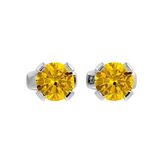 .60ct Citrine Stud Earrings in 14k White Gold