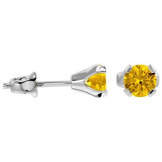 0.60 Carat Citrine Stud Earrings in White Gold