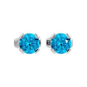 0.60 Carat Blue Topaz Stud Earrings in White Gold