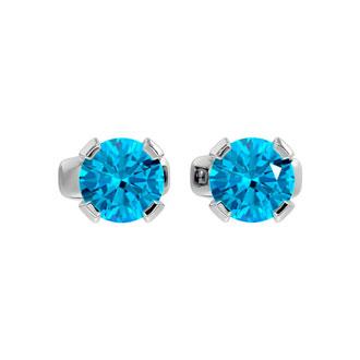 .60ct Blue Topaz Stud Earrings in 14k White Gold