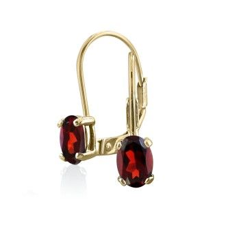 1.20ct Oval Garnet Solitaire Leverback Earrings in 14k Yellow Gold