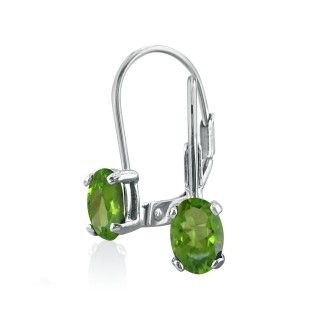 1ct Oval Peridot Solitaire Leverback Earrings in 14k White Gold
