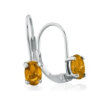 1.20ct Oval Citrine Solitaire Leverback Earrings in 14k White Gold