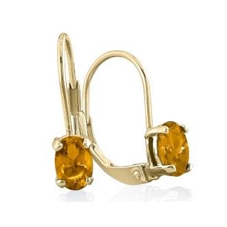 1.20ct Oval Citrine Solitaire Leverback Earrings in 14k Yellow Gold